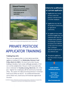 Pesticide Applicator Training Offered in Sauk County