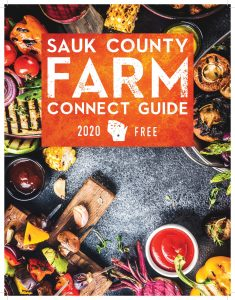 Cover of the Sauk County Farm Connect Guide with grilled vegetables.